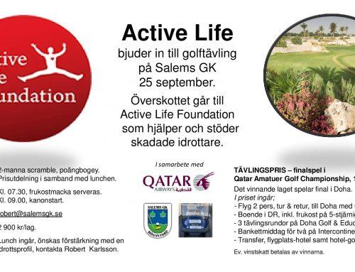 Active Life bjuder in till golftävling på Salems GK 25 september